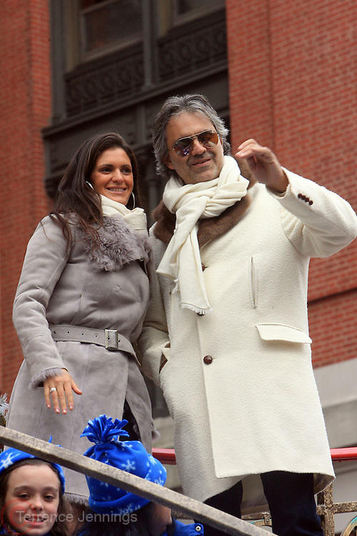 26 November 2009, NY, NY- l to r: Guest and Andrea Bocelli(R)at The 2009 Macy's Day Parade held on November 26, 2009 in New York City. Terrence Jennings/Sipa