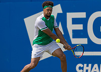 Tennis - 2017 Aegon Championships [Queen's Club Championship] - Day Three, Wednesday<br /> <br /> Men's Singles, Round of 16 - Gilles Muller (LUX) vs Jo-Wilfred Tsonga (Fra)<br /> <br /> Jo-Wilfried Tsonga (FRA) in action on the centre court at Queens Club<br /> <br /> COLORSPORT/DANIEL BEARHAM