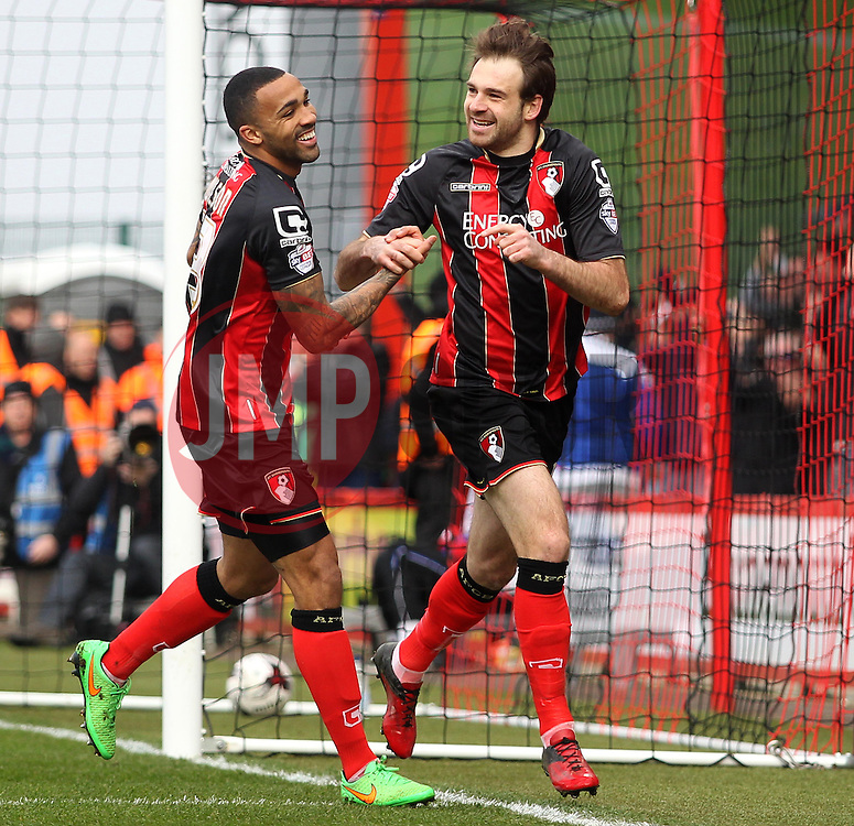 Bournemouth's Brett Pitman celebrates with Bournemouth's Callum Wilson  - Photo mandatory by-line: Robbie Stephenson/JMP - Mobile: 07966 386802 - 14/03/2015 - SPORT - Football - Bournemouth - Dean Court - AFC Bournemouth v Blackpool - Sky Bet Championship