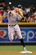 PHOENIX, AZ - APRIL 30:  Trevor Story #27 of the Colorado Rockies makes the out at second and attempts to turn two during the second inning against the Arizona Diamondbacks at Chase Field on April 30, 2016 in Phoenix, Arizona.  (Photo by Jennifer Stewart/Getty Images)