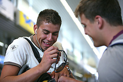 Swimmer Damir Dugonjic and Jernej Godec of Slovenian Olympic Team at departure to Beijing 2008 Olympic games, on July 31, 2008, at Airport Jozeta Pucnika, Brnik, Slovenia. (Photo by Vid Ponikvar / Sportal Images)/ Sportida)