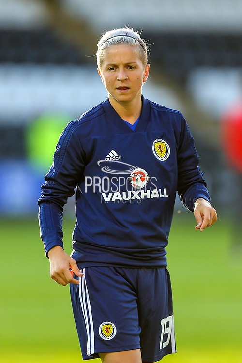 Lana Clelland (#19) of Scotland warms up ahead of the 2019 FIFA Women's World Cup UEFA Qualifier match between Scotland Women and Switzerland at the Simple Digital Arena, St Mirren, Scotland on 30 August 2018.