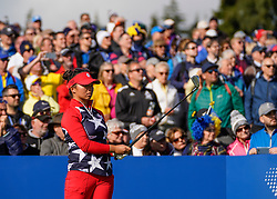 Solheim Cup 2019 at Centenary Course at Gleneagles in Scotland, UK. Megan Khang of USA watches tee shot on the 10th hole during the Friday Morning Foursomes.