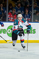 KELOWNA, CANADA - MARCH 13:  Kaedan Korczak #6 of the Kelowna Rockets skates with the puck against the Spokane Chiefs on March 13, 2019 at Prospera Place in Kelowna, British Columbia, Canada.  (Photo by Marissa Baecker/Shoot the Breeze)