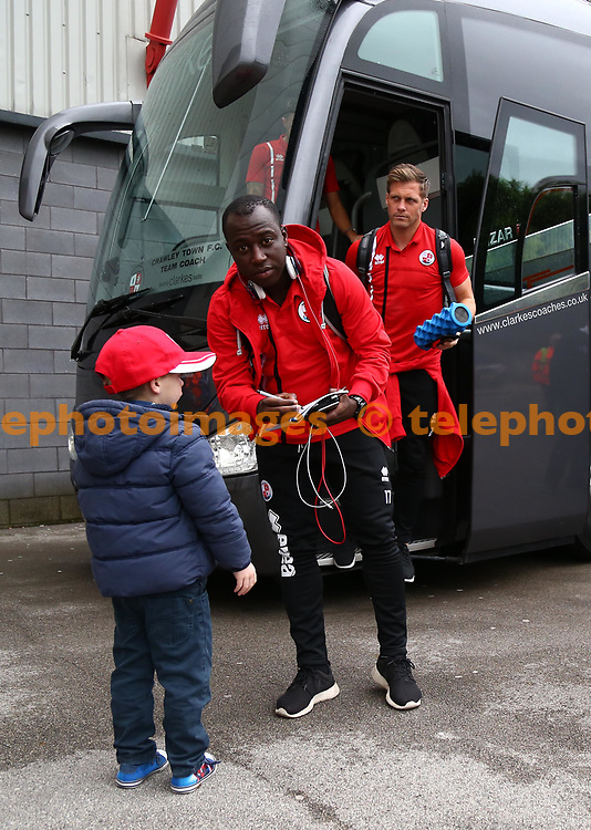 Crawley's Kaby Djalo signs autographs before the Sky Bet League 2 match between Morecambe and Crawley Town at the Globe Arena in Morecambe. 07 Oct 2017