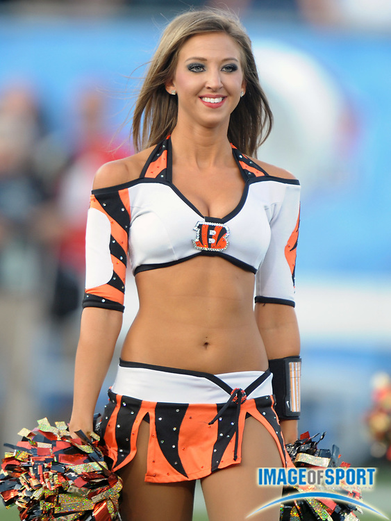 Aug 8, 2010; Canton, OH, USA; Cincinnati Bengals cheerleaders perform during the preseason game against the Dallas Cowboys at Fawcett Stadium.  Photo by Image of Sport