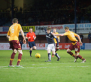 Motherwell&rsquo;s Ben Hall and Stephen McManus can't stop Dundee&rsquo;s Craig Wighton getting his pass away - Dundee v Motherwell, Ladbrokes Premiership at Dens Park <br /> <br />  - &copy; David Young - www.davidyoungphoto.co.uk - email: davidyoungphoto@gmail.com
