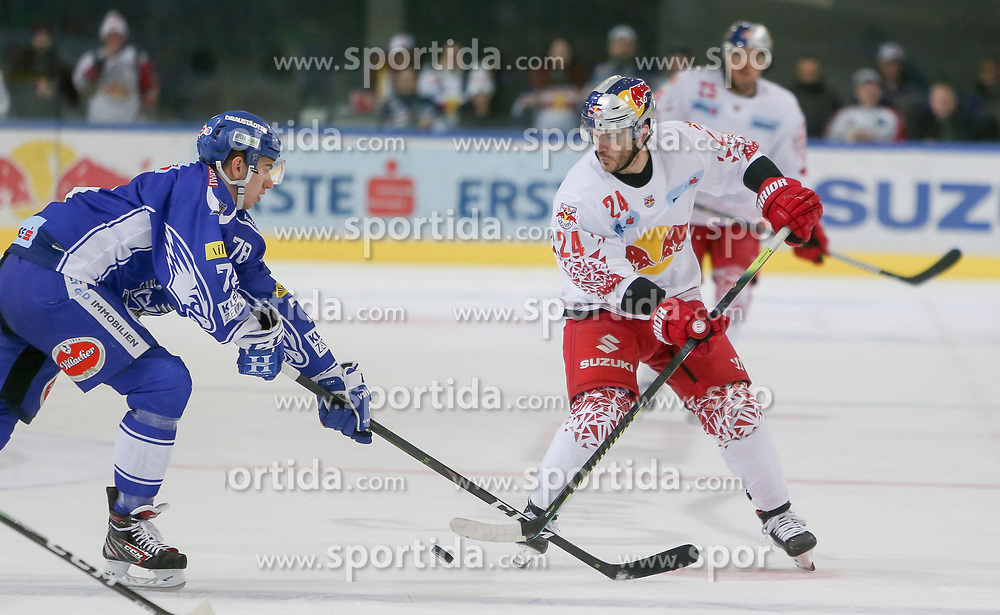 04.03.2020, Eisarena, Salzburg, AUT, EBEL, EC Red Bull Salzburg vs EC VSV, Viertelfinale, 1. Spiel, im Bild v.l. Felix Maxa (EC Panaceo VSV), Chad Kolarik (EC Red Bull Salzburg) // during the Erste Bank Icehockey 1st quarterfinal match between EC Red Bull Salzburg and EC VSV at the Eisarena in Salzburg, Austria on 2020/03/04. EXPA Pictures © 2020, PhotoCredit: EXPA/ Roland Hackl