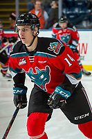 KELOWNA, CANADA - NOVEMBER 29: Wil Kushniryk #14 of the Kelowna Rockets warms up against the Prince George Cougars on November 29, 2017 at Prospera Place in Kelowna, British Columbia, Canada.  (Photo by Marissa Baecker/Shoot the Breeze)  *** Local Caption ***