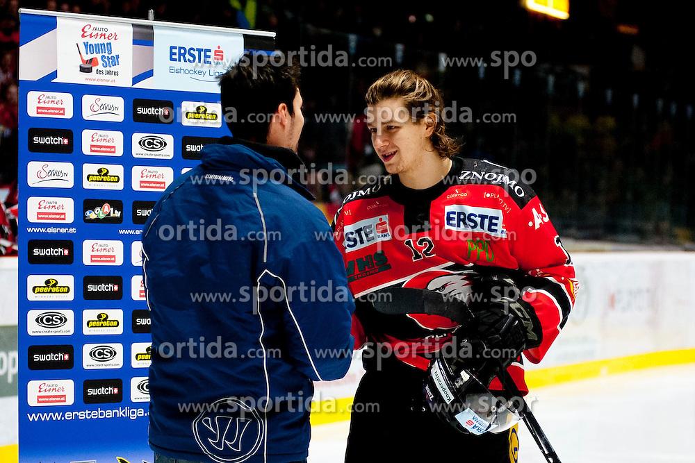 18.01.2015, Ice Rink, Znojmo, CZE, EBEL, HC Orli Znojmo vs UPC Vienna Capitals, 40. Runde, im Bild Radek Cip (HC Orli Znojmo) // during the Erste Bank Icehockey League 40th round match between HC Orli Znojmo and UPC Vienna Capitals at the Ice Rink in Znojmo, Czech Republic on 2015/01/18. EXPA Pictures © 2015, PhotoCredit: EXPA/ Rostislav Pfeffer