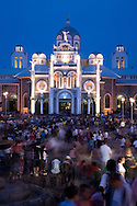 Crowd outside the Basilica church in Cartago during the Romeria, when tens of thousands of people walk from San Jose to Cartago on 1st August each year. Costa Rica.<br /> <br /> For pricing click on ADD TO CART (above). We accept payments via PayPal.