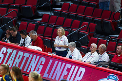BLOOMINGTON, IL - September 15: Bench officials during a college Women's volleyball match between the ISU Redbirds and the Marquette Golden Eagles on September 15 2019 at Illinois State University in Normal, IL. (Photo by Alan Look)