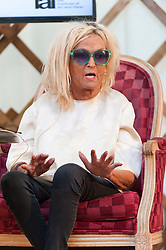 © Licensed to London News Pictures. 29/05/2016. Hay-on-Wye, Powys, Wales, UK. Annie Nightingale, BBC's longest serving DJ, chats on air at the 'HowTheLightGetsIn' Festival of Ideas at Hay-on-Wye, Wales. Photo credit: Graham M. Lawrence/LNP