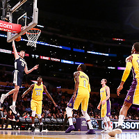 02 October 2017: Denver Nuggets forward Tyler Lydon (20) goes for the dunk during the Denver Nuggets 113-107 victory over the LA Lakers, at the Staples Center, Los Angeles, California, USA.