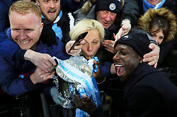 Benjamin Mendy of Manchester City celebrates with fans with the Carabao Cup - Mandatory by-line: Matt McNulty/JMP - 25/02/2018 - FOOTBALL - Wembley Stadium - London, England - Arsenal v Manchester City - Carabao Cup Final