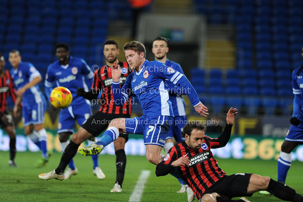 Cardiff city's Aron Gunnarsson &copy; holds off Brighton's Inigo Calderon (r).Skybet football league championship match, Cardiff city v Brighton &amp; Hove Albion at the Cardiff city Stadium in Cardiff, South Wales on Tuesday 10th Feb 2015.<br /> pic by Andrew Orchard, Andrew Orchard sports photography.