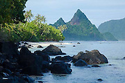 Sunuitao Peak, Ofu Island, American Samoa, palm trees