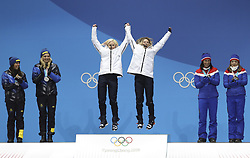 PYEONGCHANG, Feb. 22, 2018  Champion Kikkan Randall (3rd L) and Jessica Diggins (3rd R) of United States, second-placed Charlotte Kalla (2nd L) and Stina Nilsson (1st L) of Sweden, Marit Bjoergen (2nd R) and Maiken Caspersen Falla of Norway pose for photos during medal ceremony of ladies' team sprint free event of cross-country skiing at the 2018 PyeongChang Winter Olympic Games at Medal Plaza, PyeongChang, South Korea, Feb. 22, 2018. (Credit Image: © Bai Xuefei/Xinhua via ZUMA Wire)
