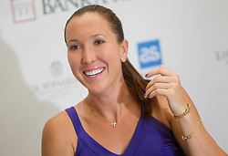 Jelena Jankovic of Serbia at  press conference after 1st Round of doubles at Banka Koper Slovenia Open WTA Tour tennis tournament, on July 19, 2010 in Portoroz / Portorose, Slovenia. (Photo by Vid Ponikvar / Sportida)