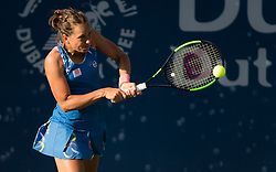 February 18, 2019 - Dubai, ARAB EMIRATES - Barbora Strycova of the Czech Republic in action during her first-round match at the 2019 Dubai Duty Free Tennis Championships WTA Premier 5 tennis tournament (Credit Image: © AFP7 via ZUMA Wire)