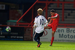 STEVENAGE, ENGLAND - Monday, September 19, 2016: Liverpool's Trent Alexander-Arnold scores the fourth goal against Tottenham Hotspur during the FA Premier League 2 Under-23 match at Broadhall. (Pic by David Rawcliffe/Propaganda)