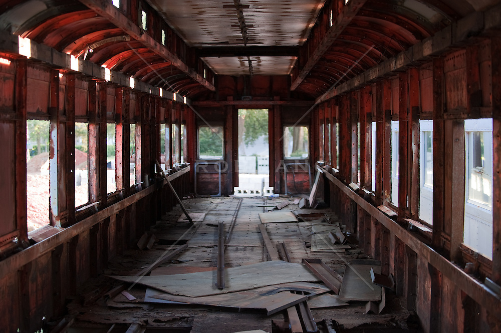 Rusted interior of an abandoned train car