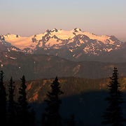 The ridgelines of the Olympics at sunrise in Washington State.