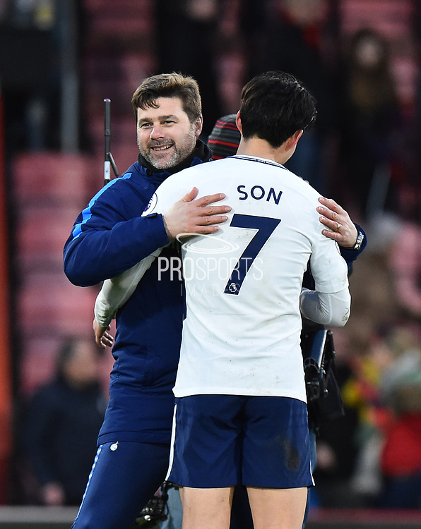 Tottenham Hotspur manager Mauricio Pochettino hugs son Heung-Min (7) of Tottenham Hotspur in celebration at full time after a 4-1 win over Bournemouth during the Premier League match between Bournemouth and Tottenham Hotspur at the Vitality Stadium, Bournemouth, England on 11 March 2018. Picture by Graham Hunt.