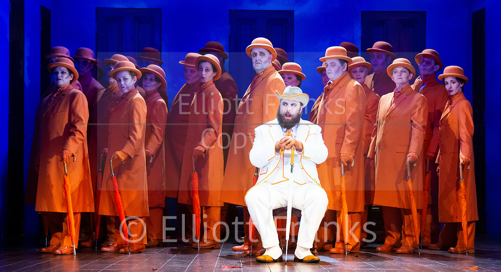 The Magic Flute <br /> Music by Mozart <br /> Welsh National Opera, Wales Millennium Centre, Cardiff, Wales, Great Britain <br /> 13th February 2019 <br /> Directed by Dominic Cooke <br /> <br /> <br /> <br /> James Platt as Sarastro<br /> And chorus <br /> <br /> <br /> <br /> Photograph by Elliott Franks