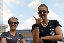 16-07-2014 NED: FIVB Grand Slam Beach Volleybal, Apeldoorn<br /> Poule fase groep G vrouwen - Tanja Goricanec (L), Tanja Huberli (R) SUI