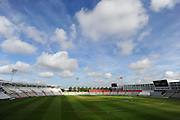 Cotton wool clouds above the Ageas Bowl stadium before the second days play in the Specsavers County Champ Div 1 match between Hampshire County Cricket Club and Yorkshire County Cricket Club at the Ageas Bowl, Southampton, United Kingdom on 1 September 2016. Photo by Graham Hunt.