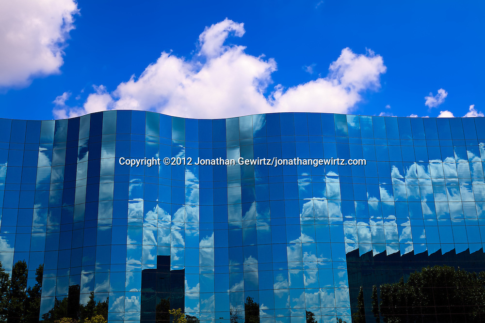 A section of the glass facade at the headquarters buildings of Human Genome Sciences in Rockville, Maryland. WATERMARKS WILL NOT APPEAR ON PRINTS OR LICENSED IMAGES.