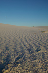A nearly-full moon rises over the dunes of White Sands National Monumet, New Mexico.