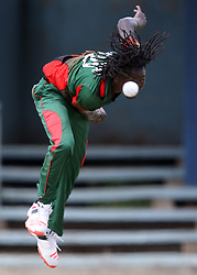 Emmanuel Bundi of Kenya bowls against Qatar during their T-20 Cricket match at the Nairobi Gymkhana grounds on 29 Septermber 2016. Qatar won 159/8 and 19.4 over. Photo/Fredrick Onyango/www.pic-centre.com