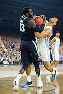 04 APR 2016: Forward Daniel Ochefu (23) of Villanova University battles Forward Kennedy Meeks (3) of the University of North Carolina during the 2016 NCAA Men's Division I Basketball Final Four Championship game held at NRG Stadium in Houston, TX. Villanova defeated North Carolina 77-74 to win the national title. Brett Wilhelm/NCAA Photos
