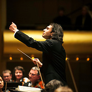 "March 11, 2013 - New York, NY : .The London Philharmonic Orchestra, lead by conductor Vladimir Jurowski, center, performs Gustav Mahler's Symphony No. 5 in C-sharp minor (1901-02), as part of Lincoln Center's ""Great Performers"" series at Avery Fisher Hall on Monday evening..CREDIT: Karsten Moran for The New York Times"
