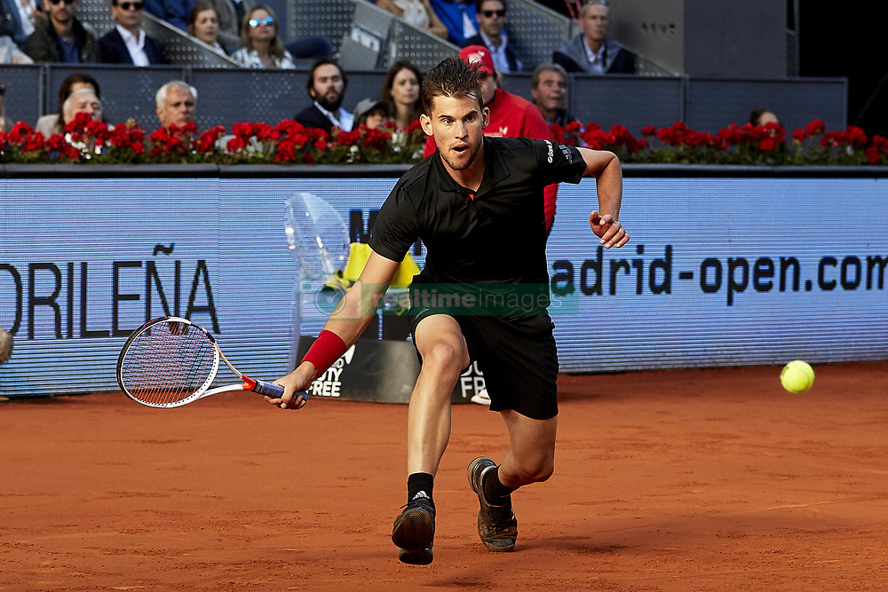 May 13, 2018 - Madrid, Madrid, Spain - Dominic Thiem of Austria in action in his final match against Alexander Zverev of Germany during day nine of the Mutua Madrid Open tennis tournament at the Caja Magica on May 13, 2018 in Madrid, Spain  (Credit Image: © David Aliaga/NurPhoto via ZUMA Press)