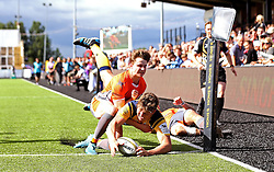 Ted Hill of Worcester Warriors scores a try against Newcastle Falcons - Mandatory by-line: Robbie Stephenson/JMP - 30/07/2016 - RUGBY - Kingston Park - Newcastle, England - Worcester Warriors v Newcastle Falcons - Singha Premiership 7s