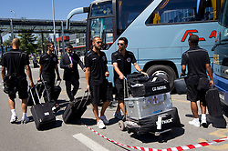 at arrival of Portugal football team Clube Desportivo Nacional da Madeira to Slovenia, on August 2, 2010 at Airport Joze Pucnik, Brnik, Slovenia. (Photo by Vid Ponikvar / Sportida)