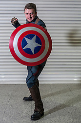 © Licensed to London News Pictures. 14/03/2015. Newham, London, UK.  A man dressed as Marvel's Captain America, one of many cosplayers attending the London Comic Con at the Excel Centre in Docklands. Photo credit : Stephen Chung/LNP