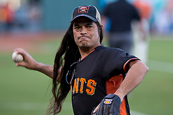 SAN FRANCISCO, CA - MAY 16:  Recording artist Robert Trujillo of the rock band Metallica throws a baseball on the field before the game between the San Francisco Giants and the Miami Marlins at AT&T Park on May 16, 2014 in San Francisco, California.  The Miami Marlins defeated the San Francisco Giants 7-5.  (Photo by Jason O. Watson/Getty Images) *** Local Caption *** Robert Trujillo