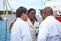 VITEMA Director Mona Barnes.  Guard Boat Forces in the US Virgin Islands unveil two of the four 33-Special Purpose Craft Law-Enforcement (SPC-LEs) Boats that will be stationed in St. Thomas.   The SPC-LE's are specially built for counter-drug and migrant missions while patroling the border.  © Aisha-Zakiya Boyd