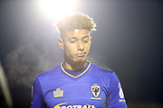 AFC Wimbledon striker Lyle Taylor (33) prior to being subbed during the EFL Sky Bet League 1 match between AFC Wimbledon and Blackpool at the Cherry Red Records Stadium, Kingston, England on 20 January 2018. Photo by Matthew Redman.