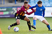 Bradford City defender Adam Henley and Macclesfield Town midfielder Connor Kirby in a challenge during the EFL Sky Bet League 2 match between Macclesfield Town and Bradford City at Moss Rose, Macclesfield, United Kingdom on 30 November 2019.
