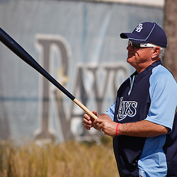 February 18, 2011; Port Charlotte, FL, USA; Tampa Bay Rays manager Joe Maddon walks off the field following a spring training practice at Charlotte Sports Park.  Mandatory Credit: Derick E. Hingle