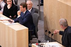 "27.05.2019, Hofburg, Wien, AUT, Hofburg, Sondersitzung des Nationalrates, Sitzung des Nationalrates aufgrund des Misstrauensantrags der Liste JETZT und SPOE gegen Bundeskanzler Sebastian Kurz (OeVP) und die Bundesregierung, im Bild v. l. Sebastian Kurz (OeVP), Peter Pilz (JETZT)// during special meeting of the National Council of austria due to the topic ""motion of censure against the federal chancellor Sebastian Kurz (OeVP) and the federal government"" at Hofburg palace in Vienna, Austria on 2019/05/27, EXPA Pictures © 2019, PhotoCredit: EXPA/ Florian Schroetter"