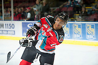 KELOWNA, CANADA - OCTOBER 10: Tyrell Goulbourne #12 of the Kelowna Rockets warms up on the ice as the Spokane Chiefs visit the Kelowna Rockets on October 10, 2012 at Prospera Place in Kelowna, British Columbia, Canada (Photo by Marissa Baecker/Shoot the Breeze) *** Local Caption ***