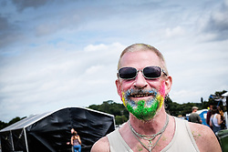A festivalgoer with a coloured beard at the Brownstock Festival in Essex.