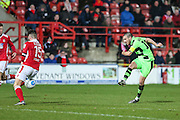 Forest Green Rovers Liam Noble(15) shoots at goal during the Vanarama National League match between Wrexham FC and Forest Green Rovers at the Racecourse Ground, Wrexham, United Kingdom on 26 November 2016. Photo by Shane Healey.