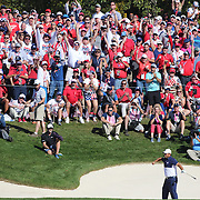 Ryder Cup 2016. Day Three. Patrick Reed of the United States celebrates to the delight of the fans after out of the sand trap safely on the sixteenth during his win against Rory McIlroy of Europe in the Sunday singles competition at  the Ryder Cup tournament at Hazeltine National Golf Club on October 02, 2016 in Chaska, Minnesota.  (Photo by Tim Clayton/Corbis via Getty Images)